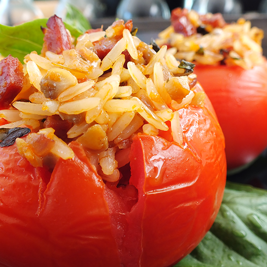 Stuffed tomato made with Ukuva's Sweet Chilli Hot Drops with Ginger